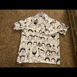 Face drawing patterned button up tee shirt top